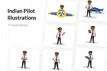 Indian Pilot Illustration Pack
