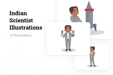 Indian Scientist Illustration Pack