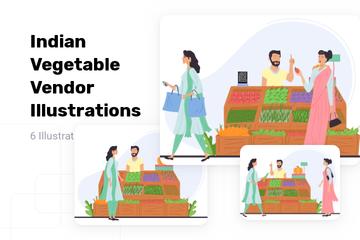 Indian Vegetable Vendor Illustration Pack