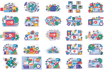 Information Technology And Online Activity Illustration Pack