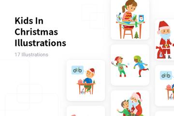 Kids In Christmas Illustration Pack