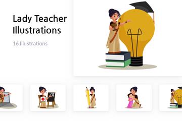 Lady Teacher Illustration Pack