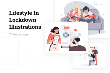 Lifestyle In Lockdown Illustration Pack