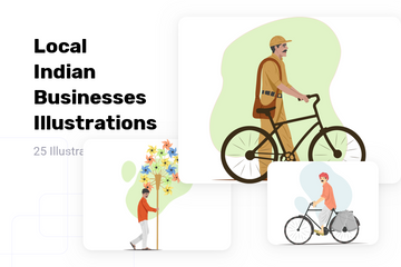 Local Indian Businesses Illustration Pack