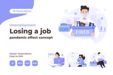 Loss Of A Job Illustration Pack