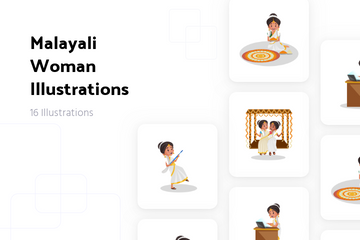 Malayali Woman Illustration Pack