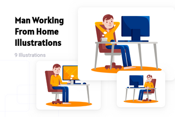 Man Working From Home Illustration Pack