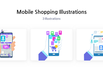 Mobile Shopping Illustration Pack