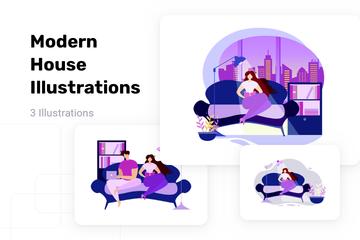 Modern House Illustration Pack