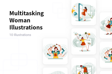 Multitasking Woman Illustration Pack
