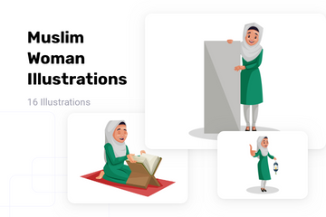Muslim Woman Illustration Pack