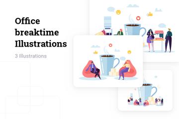 Office Breaktime Illustration Pack