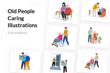 Old People Caring Illustration Pack
