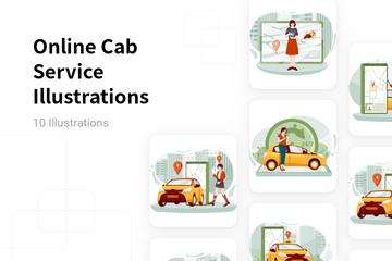 Online Cab Service Illustration Pack