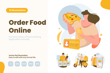 Online Food Delivery Illustration Pack