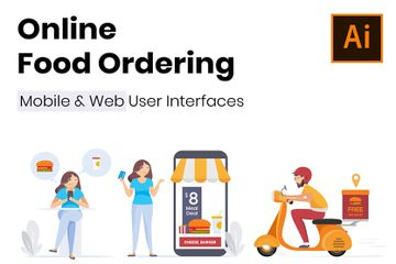 Online Food Ordering And Delivery Illustration Pack