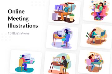 Online Meeting Illustration Pack