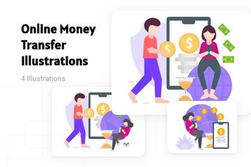 Online Money Transfer Illustration Pack