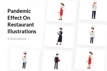 Pandemic Effect On Restaurant Illustration Pack