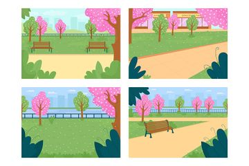 Park In Spring Season Illustration Pack