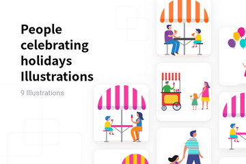 People Celebrating Holidays Illustration Pack