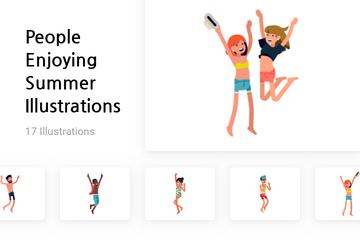 People Enjoying Summer Illustration Pack