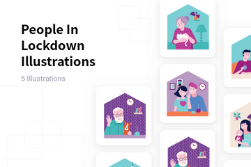 People In Lockdown Illustration Pack