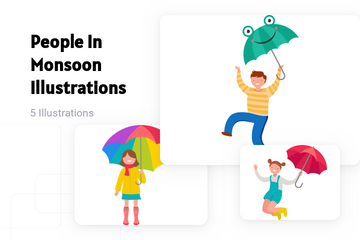 People In Monsoon Illustration Pack