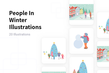 People In Winter Illustration Pack
