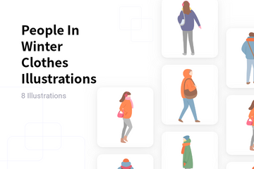 People In Winter Clothes Illustration Pack