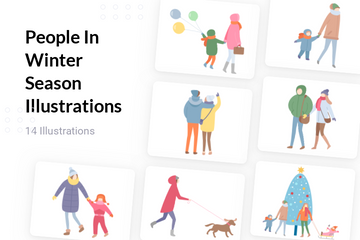People In Winter Season Illustration Pack