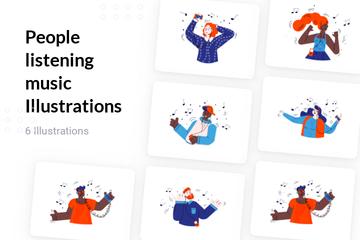 People Listening Music Illustration Pack