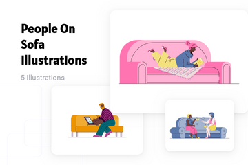 People On Sofa Illustration Pack