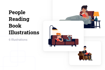 People Reading Book Illustration Pack
