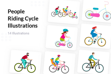 People Riding Cycle Illustration Pack
