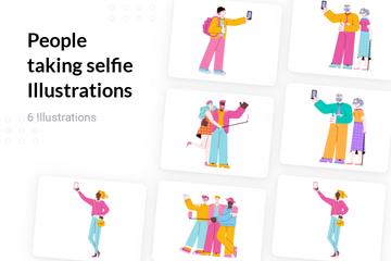 People Taking Selfie Illustration Pack