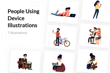 People Using Device Illustration Pack