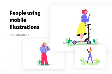 People Using Mobile Illustration Pack