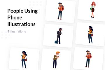 People Using Phone Illustration Pack