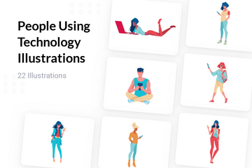 People Using Technology Illustration Pack