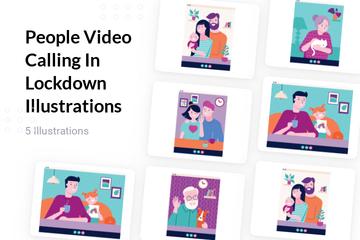 People Video Calling In Lockdown Illustration Pack