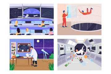 People Who Are Evolved In Space Program Illustration Pack