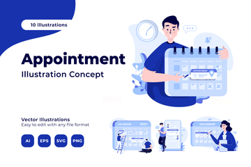 People With Appointments Illustration Pack