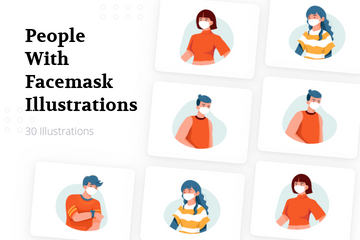 People With Facemask Illustration Pack