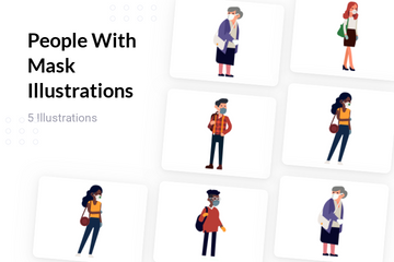 People With Mask Illustration Pack