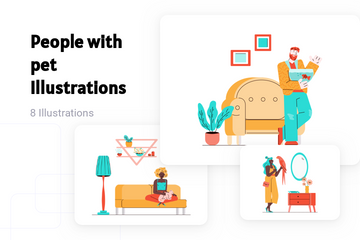 People With Pet Illustration Pack