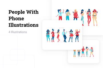 People With Phone Illustration Pack