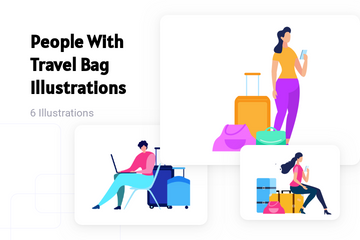 People With Travel Bag Illustration Pack