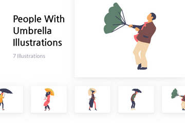 People With Umbrella Illustration Pack