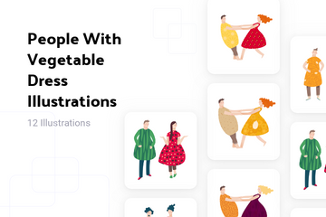 People With Vegetable Dress Illustration Pack